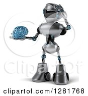 Clipart Of A 3d Silver Male Techno Robot Holding A Blue Glass Brain And Scratching His Head Royalty Free Illustration by Julos