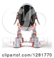 Clipart Of A 3d White And Orange Robotic Dog Royalty Free Illustration