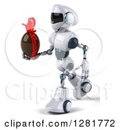 Clipart Of A 3d White And Blue Robot Facing Left Walking And Holding A Chcoolate Easter Egg Royalty Free Illustration
