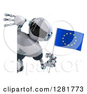 Clipart Of A 3d White And Blue Robot Holding A European Flag Around A Sign Royalty Free Illustration