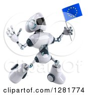 Clipart Of A 3d White And Blue Robot Jumping And Holding A European Flag Royalty Free Illustration