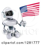 Clipart Of A 3d White And Blue Robot Looking Up And Holding An American Flag Royalty Free Illustration