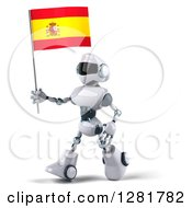 Clipart Of A 3d White And Blue Robot Walking To The Left And Holding A Spanish Flag Royalty Free Illustration