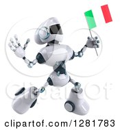 Clipart Of A 3d White And Blue Robot Facing Right And Jumping With An Italian Flag Royalty Free Illustration