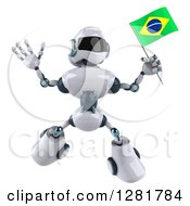 Clipart Of A 3d White And Blue Robot Jumping And Holding A Brazilian Flag Royalty Free Illustration
