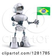 Clipart Of A 3d White And Blue Robot Holding And Presenting A Brazilian Flag Royalty Free Illustration