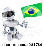 Clipart Of A 3d White And Blue Robot Looking Up And Holding A Brazilian Flag Royalty Free Illustration