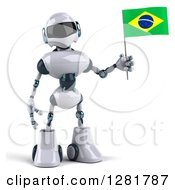 Clipart Of A 3d White And Blue Robot Standing And Holding A Brazilian Flag Royalty Free Illustration