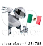 Clipart Of A 3d White And Blue Robot Holding A Mexican Flag Around A Sign Royalty Free Illustration