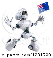 Clipart Of A 3d White And Blue Robot Facing Slightly Right Jumping And Holding An Australian Flag Royalty Free Illustration