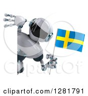 Clipart Of A 3d White And Blue Robot Holding A Swedish Flag Around A Sign Royalty Free Illustration
