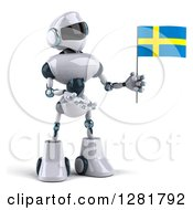 Clipart Of A 3d White And Blue Robot Holding And Presenting A Swedish Flag Royalty Free Illustration