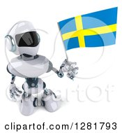 Clipart Of A 3d White And Blue Robot Looking Up And Holding A Swedish Flag Royalty Free Illustration