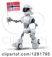 Clipart Of A 3d White And Blue Robot Walking To The Left With A Norway Flag Royalty Free Illustration