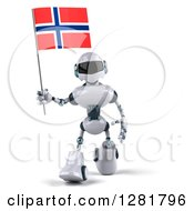 Clipart Of A 3d White And Blue Robot Walking With A Norway Flag Royalty Free Illustration