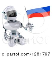 Clipart Of A 3d White And Blue Robot Holding Up A Russian Flag Royalty Free Illustration