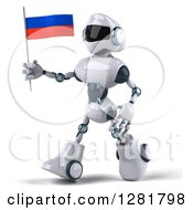 Clipart Of A 3d White And Blue Robot Walking To The Left And Holding A Russian Flag Royalty Free Illustration