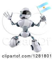 Clipart Of A 3d White And Blue Robot Jumping And Holding An Argentine Flag Royalty Free Illustration