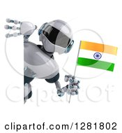 Clipart Of A 3d White And Blue Robot Holding An Indian Flag Around A Sign Royalty Free Illustration