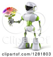 Clipart Of A 3d White And Green Robot Facing Left And Holding A Bouquet Of Flowers Royalty Free Illustration