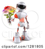 Clipart Of A 3d White And Orange Robot Holding A Bouquet Of Flowers Royalty Free Illustration