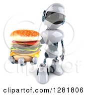 Clipart Of A 3d White And Blue Robot Holding Up A Double Cheeseburger Royalty Free Illustration