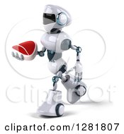 Clipart Of A 3d White And Blue Robot Facing Left Walking And Holding A Beef Steak Royalty Free Illustration