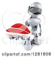 Clipart Of A 3d White And Blue Robot Holding Up A Beef Steak Royalty Free Illustration
