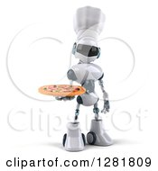 Clipart Of A 3d White And Blue Robot Chef Holding A Pizza Royalty Free Illustration