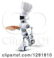 Clipart Of A 3d White And Blue Robot Chef Walking To The Left And Holding A Pizza Royalty Free Illustration