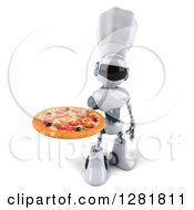 Clipart Of A 3d White And Blue Robot Chef Holding Up A Pizza Royalty Free Illustration