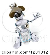 Clipart Of A 3d White And Blue Robot Pirate Waving And Sitting In A Shopping Cart Royalty Free Illustration