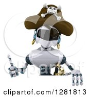 Clipart Of A 3d White And Blue Robot Pirate Holding A Thumb Up Over A Sign Royalty Free Illustration