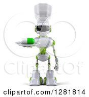 Clipart Of A 3d White And Green Robot Chef Holding A Pill On A Plate Royalty Free Illustration