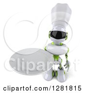 Clipart Of A 3d White And Green Robot Chef Holding Up A Plate Royalty Free Illustration