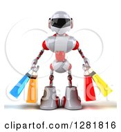 Clipart Of A 3d White And Red Robot Holding Shopping Bags Royalty Free Illustration