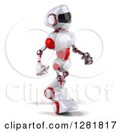 Clipart Of A 3d White And Red Robot Walking To The Right Royalty Free Illustration