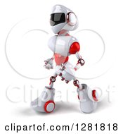 Clipart Of A 3d White And Red Robot Walking To The Left Royalty Free Illustration