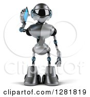 Clipart Of A 3d Silver Male Techno Robot Talking On A Smart Phone Royalty Free Illustration
