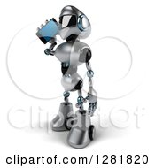 Clipart Of A 3d Silver Male Techno Robot Facing Left And Talking On A Smart Phone Royalty Free Illustration