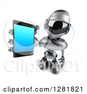 Clipart Of A 3d Silver Male Techno Robot Holding Up A Smart Phone Royalty Free Illustration