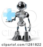 Clipart Of A 3d Silver Male Techno Robot Holding A Blue Cross Royalty Free Illustration