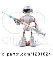 Clipart Of A 3d White And Orange Robot Holding A Vaccine Syringe Royalty Free Illustration