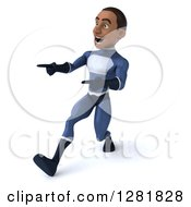 Clipart Of A 3d Encouraging Young Black Male Super Hero In A Blue Suit Walking And Pointing Royalty Free Vector Illustration