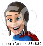 Clipart Of A 3d Happy Young Brunette White Female Super Hero In A Blue And Red Suit From The Shoulders Up Royalty Free Vector Illustration