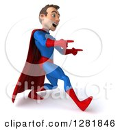 Clipart Of A 3d Encouraging Young Brunette White Male Super Hero In A Blue And Red Suit Walking And Pointing Royalty Free Vector Illustration