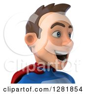 Clipart Of A 3d Happy Young Brunette White Male Super Hero In A Blue And Red Suit Facing Right From The Shoulders Up Royalty Free Vector Illustration