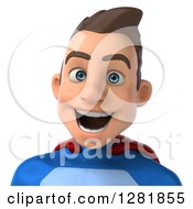 Clipart Of A 3d Happy Young Brunette White Male Super Hero In A Blue And Red Suit From The Shoulders Up Royalty Free Vector Illustration