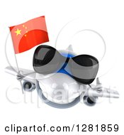 Clipart Of A 3d White Airplane Wearing Sunglasses Holding A Thumb Up And Flying With A Chinese Flag Royalty Free Illustration