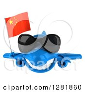 Clipart Of A 3d Blue Airplane Wearing Sunglasses And Flying With A Chinese Flag Royalty Free Illustration